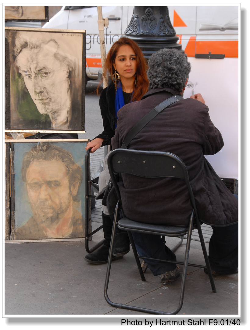 Barcelona, Straßenmaler auf der Rambla (pintor en la Rambla)