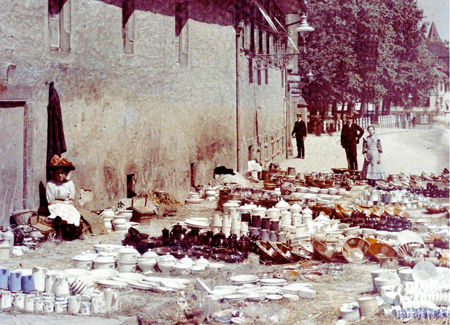 Basel: Häfelimärt (Geschirrmarkt), Petersgraben um 1912