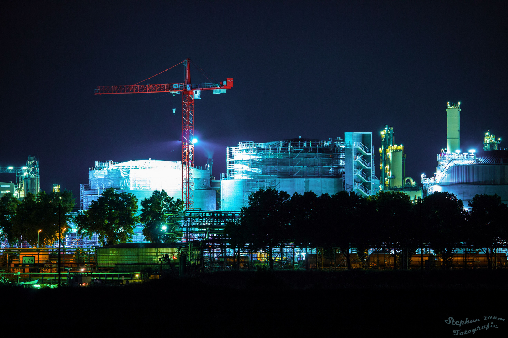 BASF Ludwigshafen bei Nacht