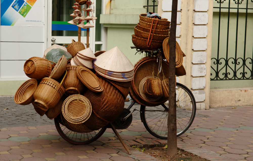 Basketry at its very best on the sidewalks of Hanoi.
