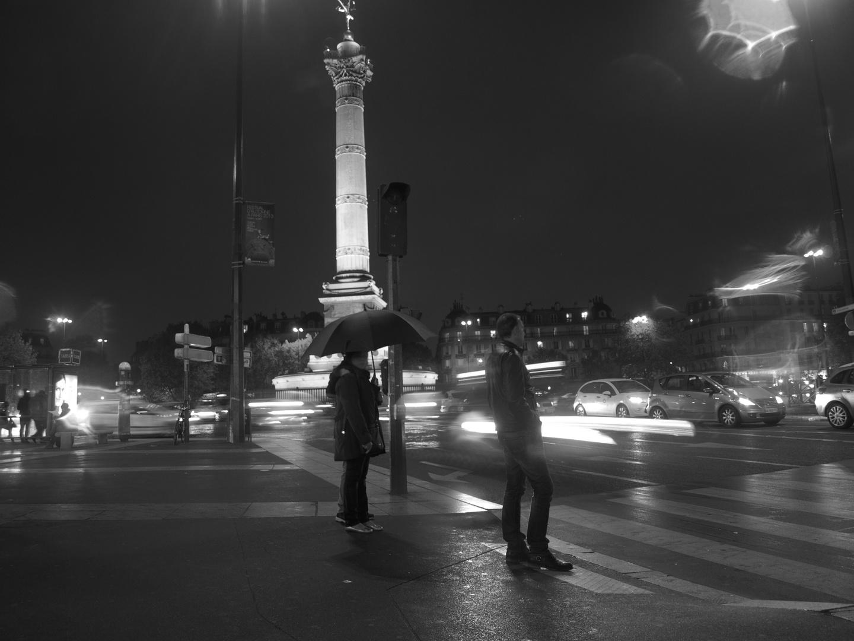 Bastille by night. The rain never sleeps..