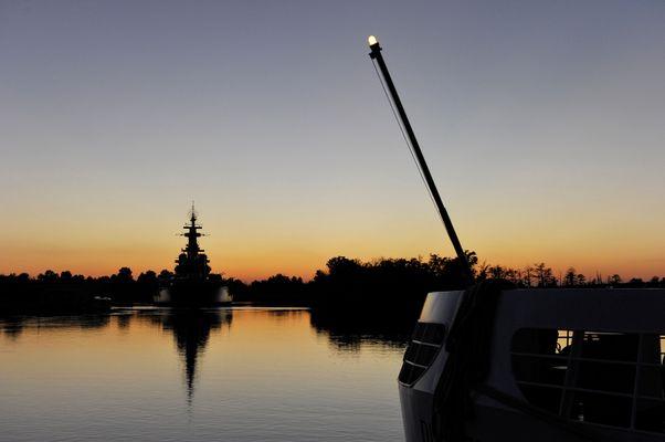 Battleship at sunset