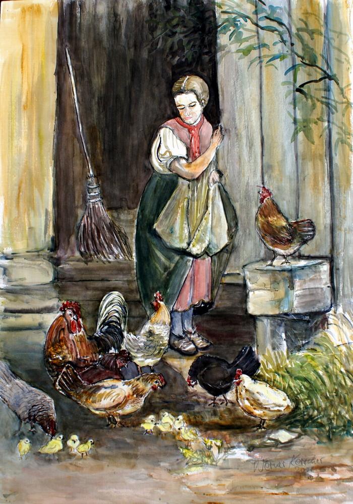 Bauernmädchen füttert Hühner