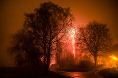 Baum in Nebel und Feuerwerk