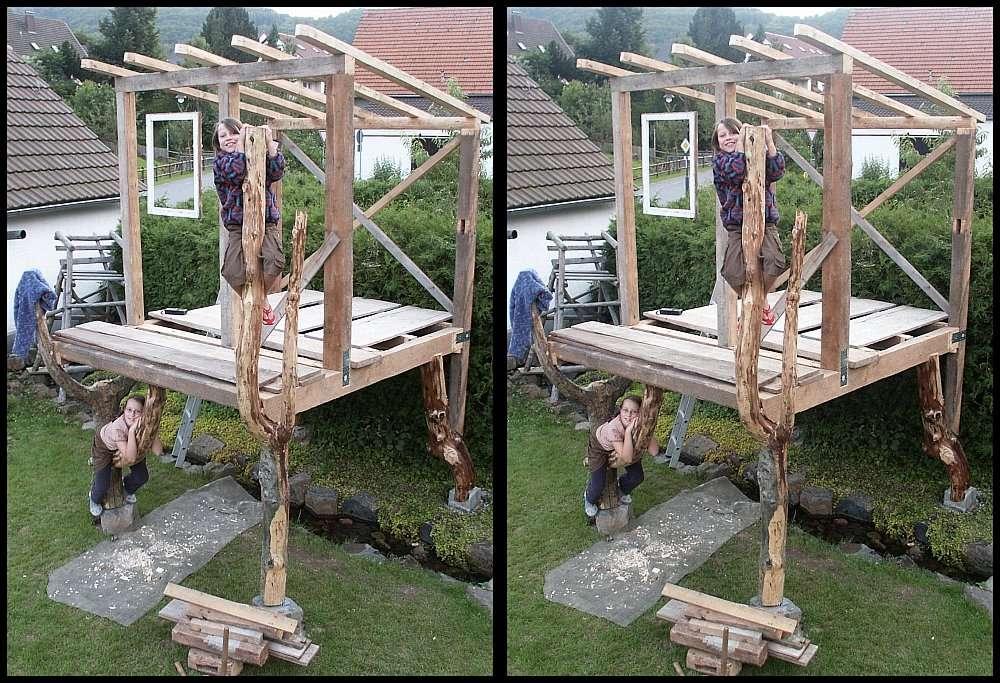 baumhaus mit scheinfenster foto bild stereoskopische raumbilder kreuzblick stereos spezial. Black Bedroom Furniture Sets. Home Design Ideas