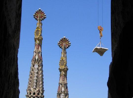Bautätigkeit auf der Sagrada Familia