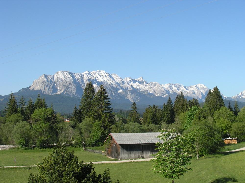Bayern, Alpen, Karwendel, Wallgau, Blick auf das Wettersteingebirge