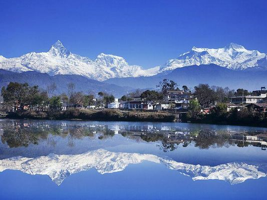 Beautiful Pokhara with Annapurna mountains