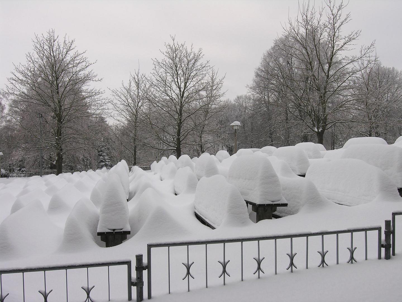 Bedeckt vom Schnee.