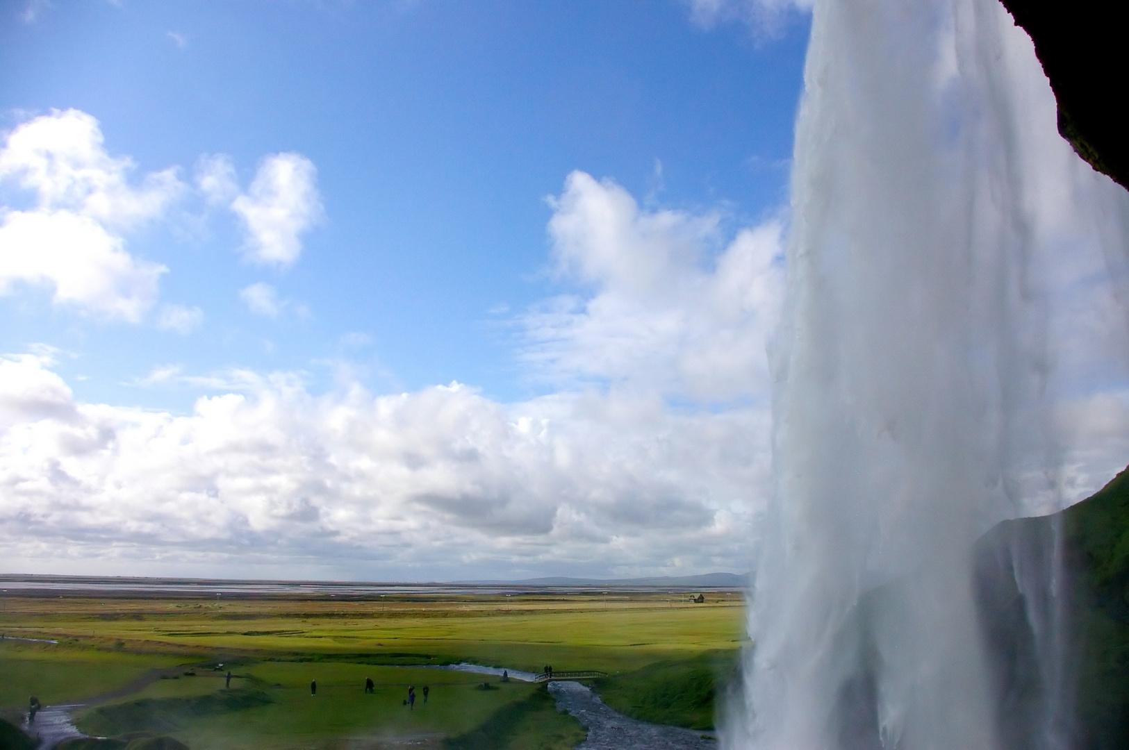 Behind a waterfall