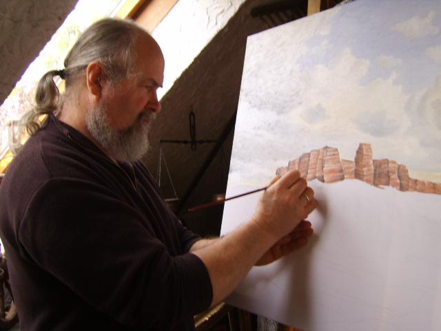 Bei der Arbeit zu dem Gemälde: Helgoland bei schwerer See