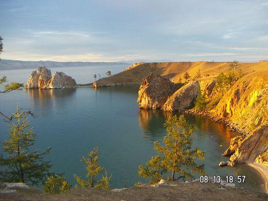 Beikalsee,Insel Olchon,Sonnenuntergang am Schamanenfelsen