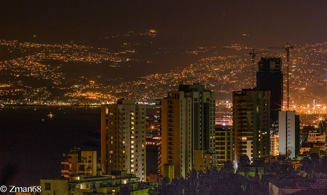 Beirut My City as I see it from My window at Night