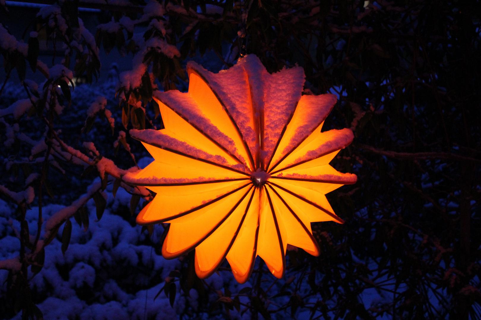 Beleuchteter wetterfester Lampion bei Nacht