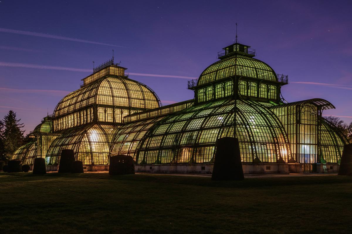 Beleuchtetes Palmenhaus