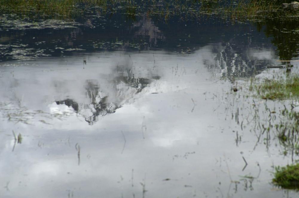 Berg im Teich