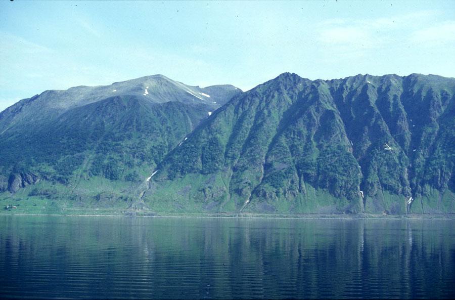 Bergansicht vom Fjord aus mit Spiegelung im Meer