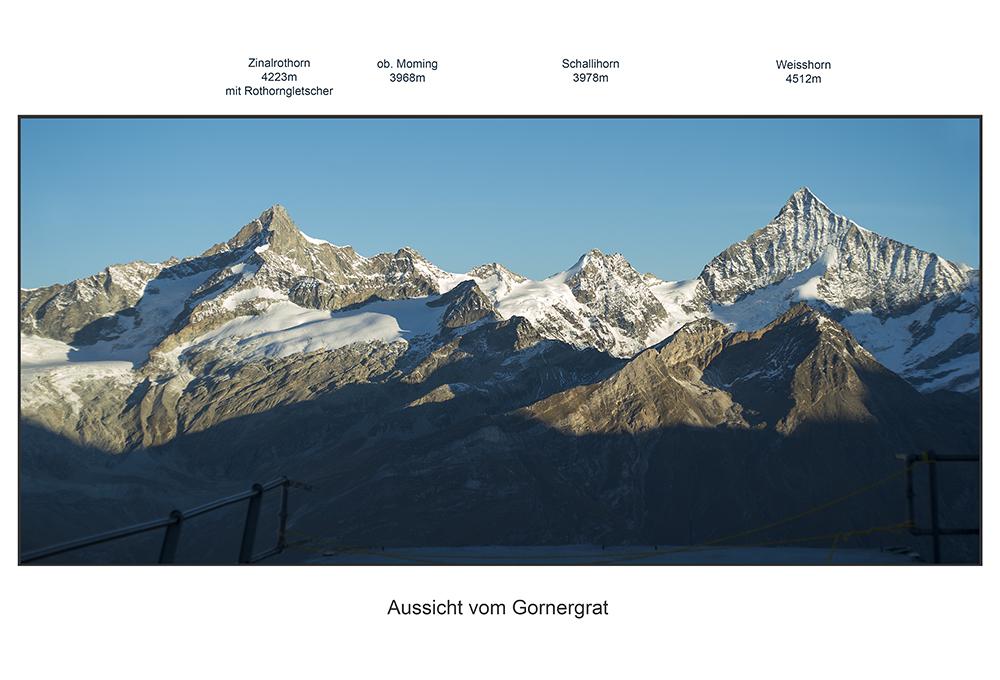 Bergpanorama mit 4000ern: Zinalrothorn bis Weisshorn
