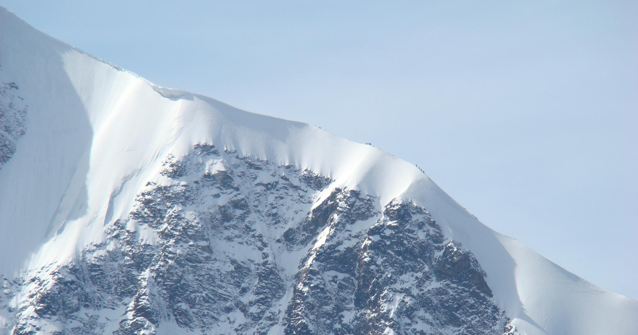 Bergsteiger am Biancograt - Bernina