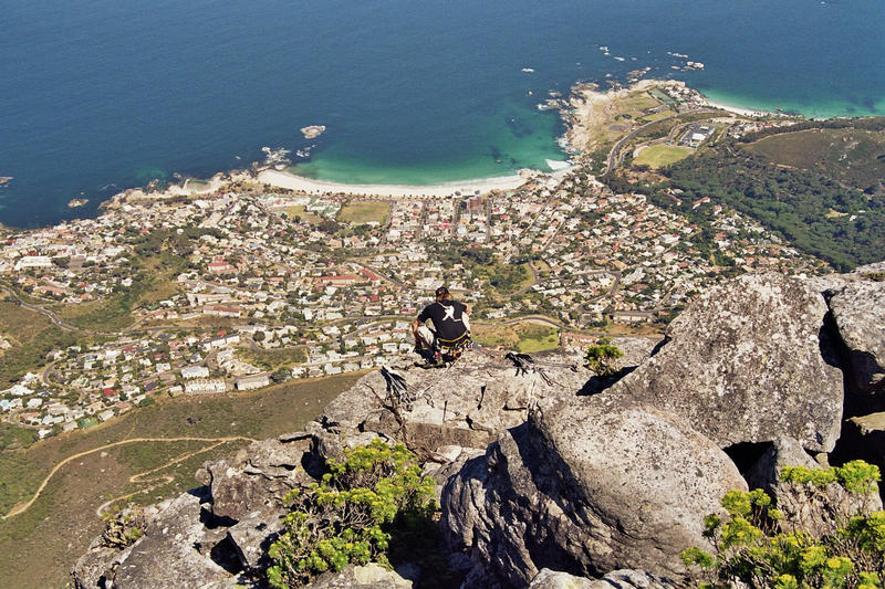 Bergsteiger am Tafelberg