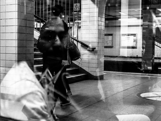 Berlin: Reflections in the subway (U-Bahn)