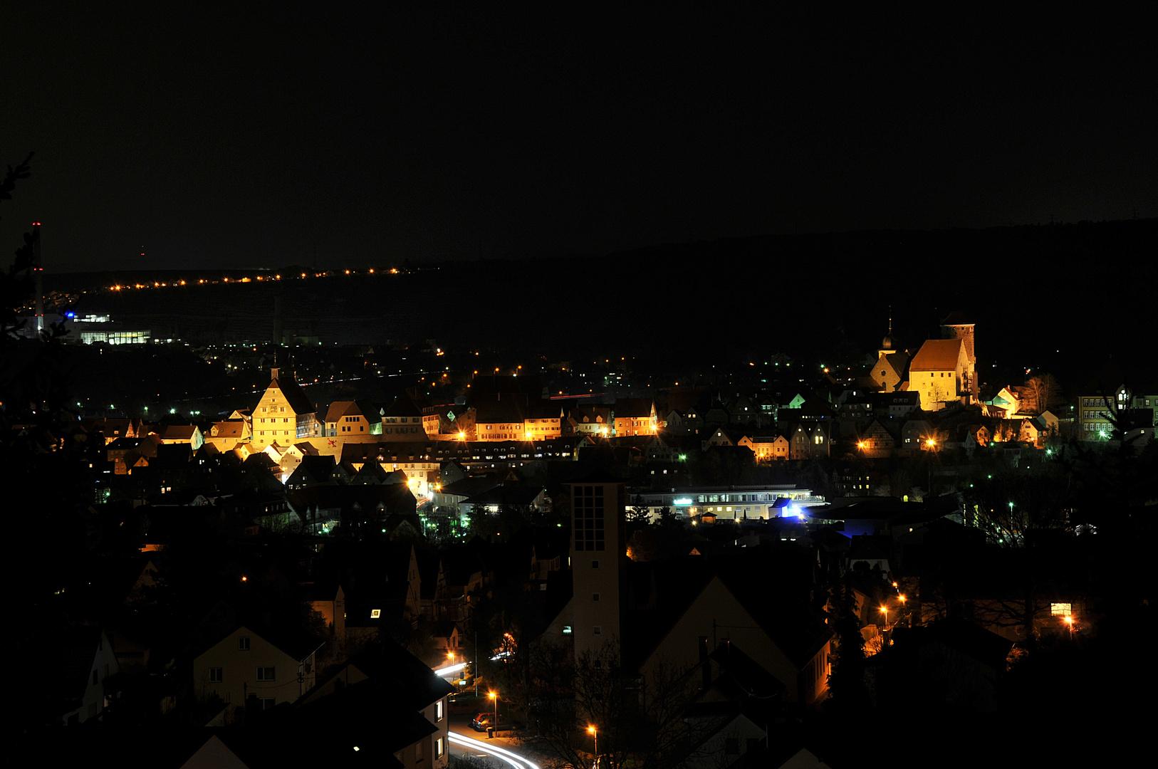 Besigheim bei Nacht von Westen