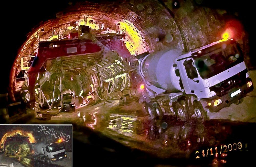 """Betonmischer...""""ich""""  bei Tunnelbau-Innenschale-TU.ICE"""