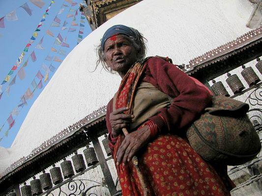 Bettlerin in Kathmandu