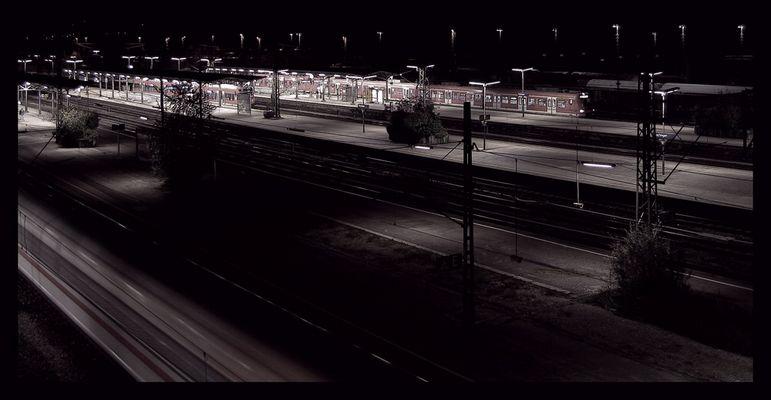 BF Plochingen bei Nacht.
