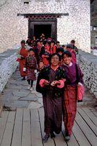 Bhutanese women pilgrims come back from Paro Tsechu