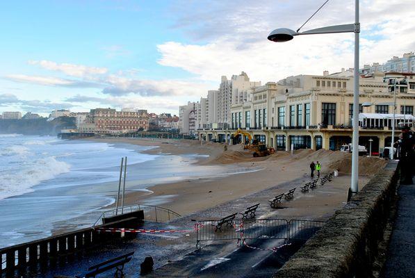 Biarritz La Grande plage et le Casino au matin du 7 janvier 2014