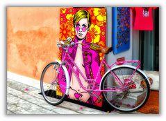 Bicicleta de color rosa
