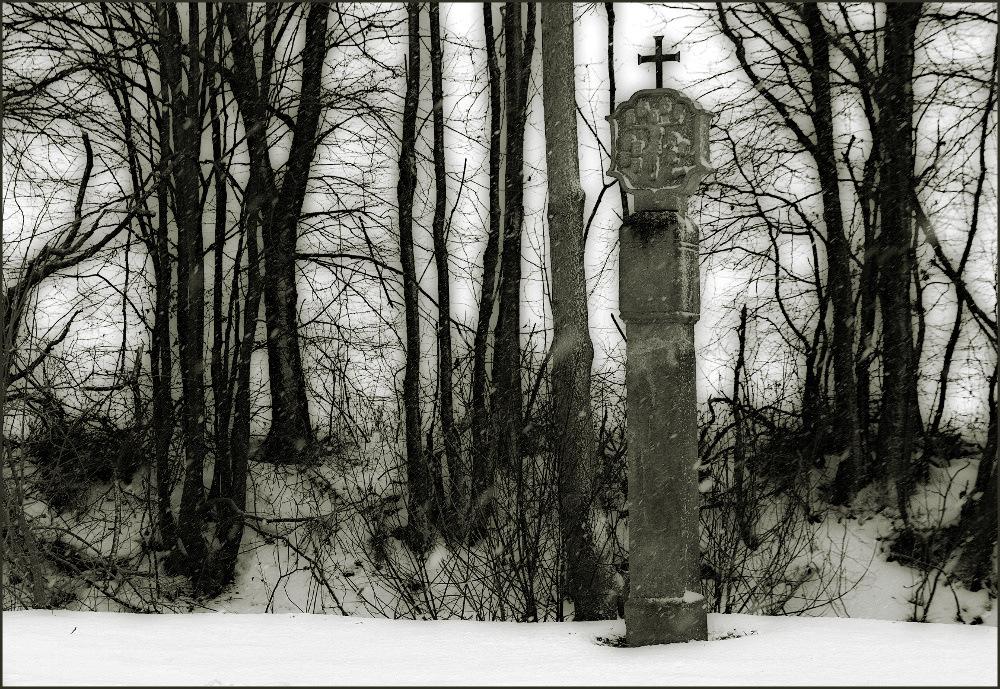 Bildstock im Schnee