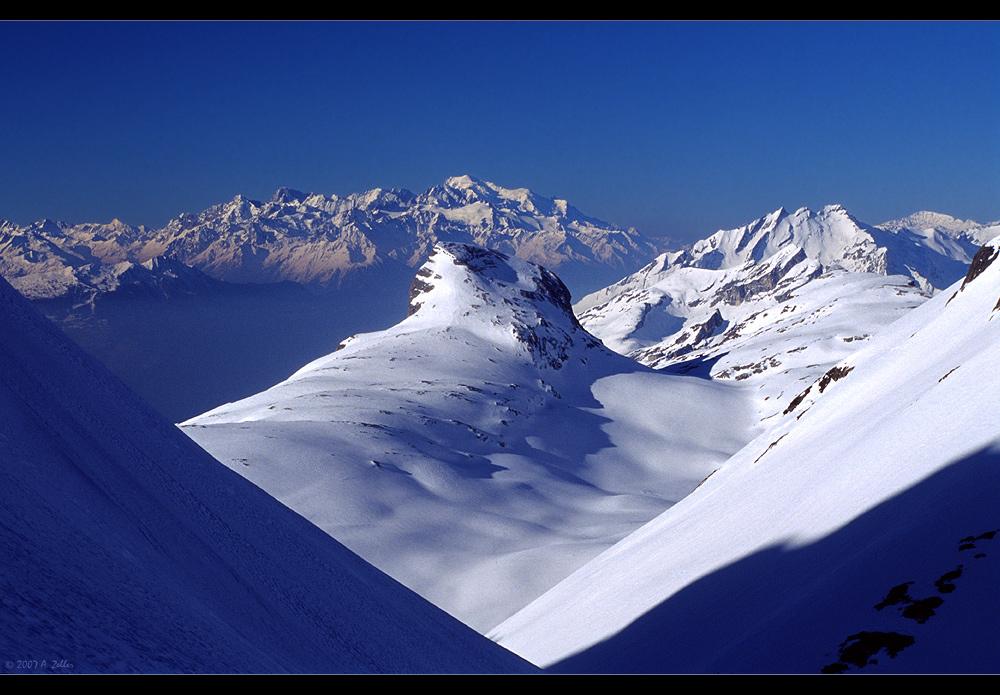 Bis hin zum Mont Blanc