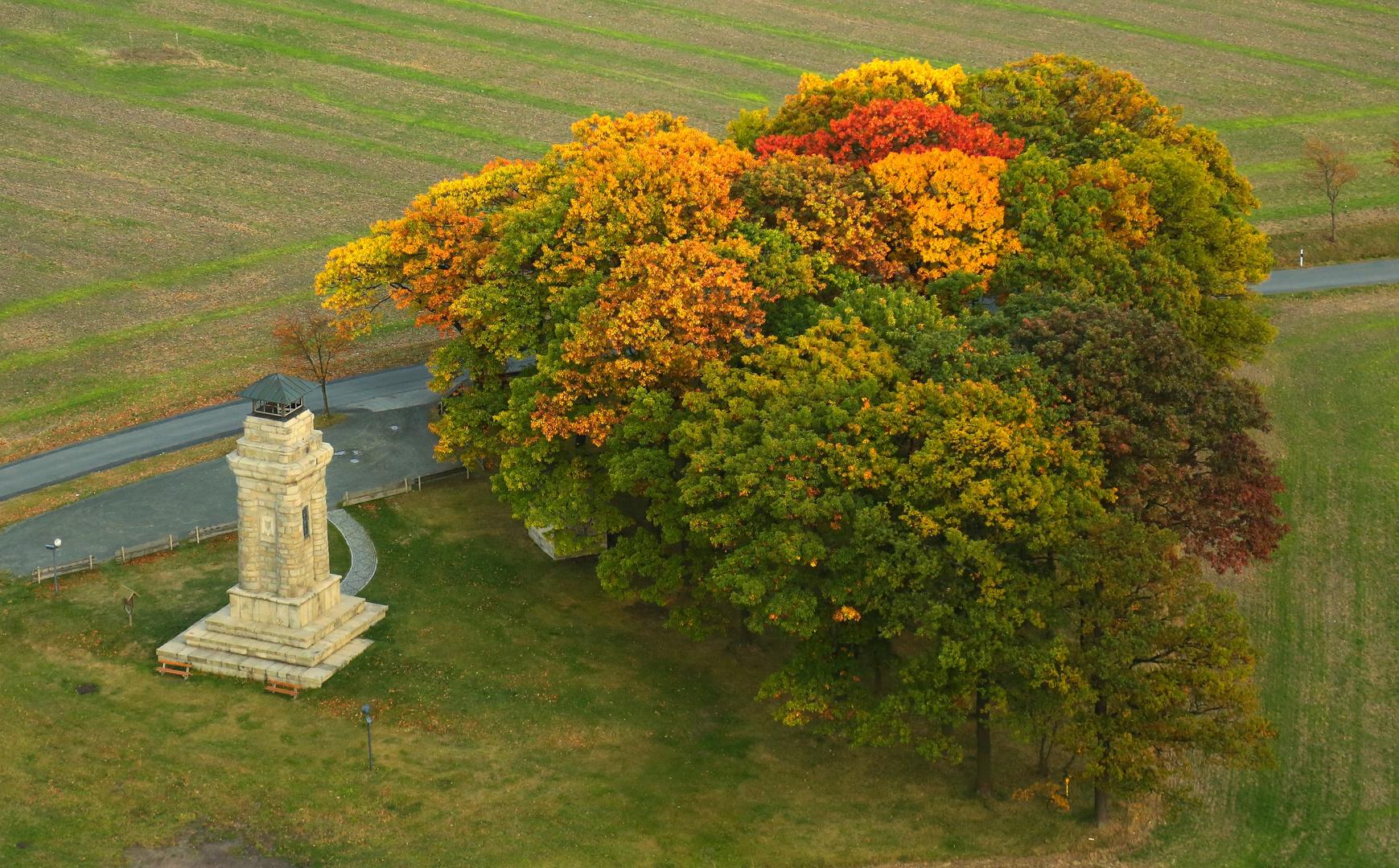 Bismarcksäule Markneukirchen im Herbst