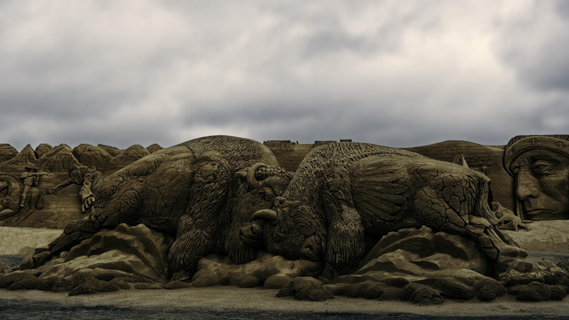 Bison aus Sand