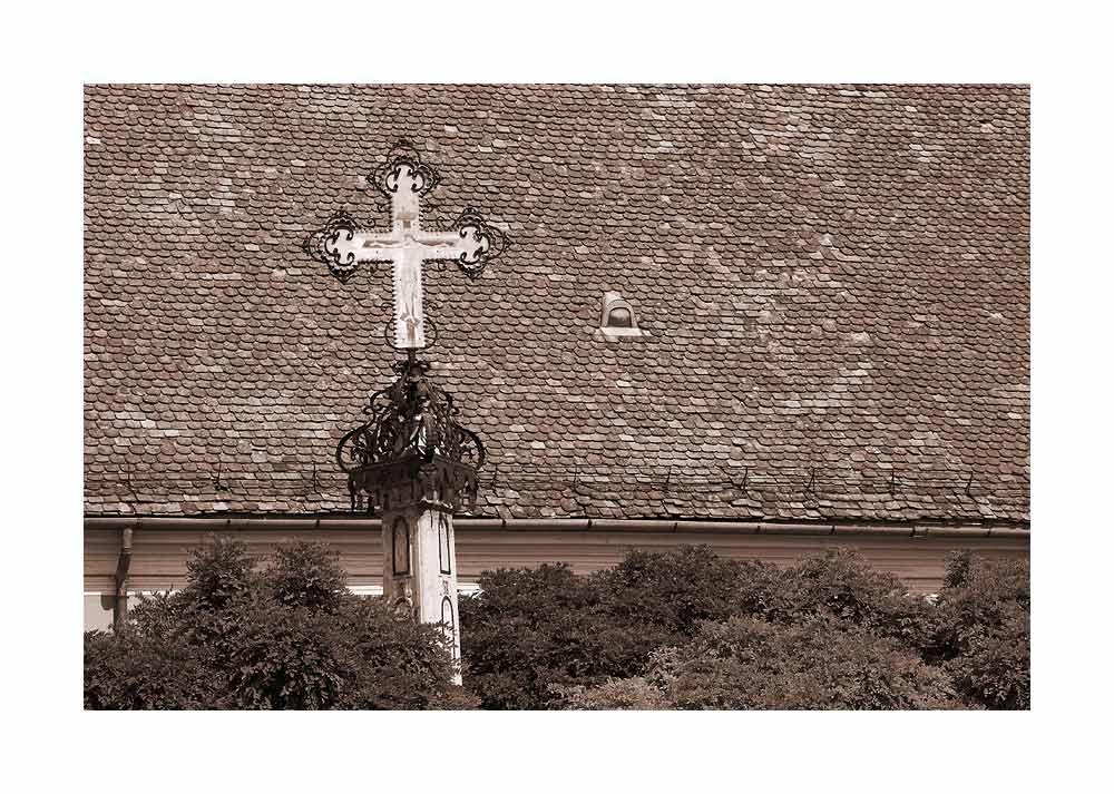 Black death cross in Szentendre, Hungary