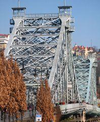 blaue Brücke von Blasewitz, rote Dächer von Loschwitz