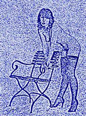 Blaue Dame mit Stuhl