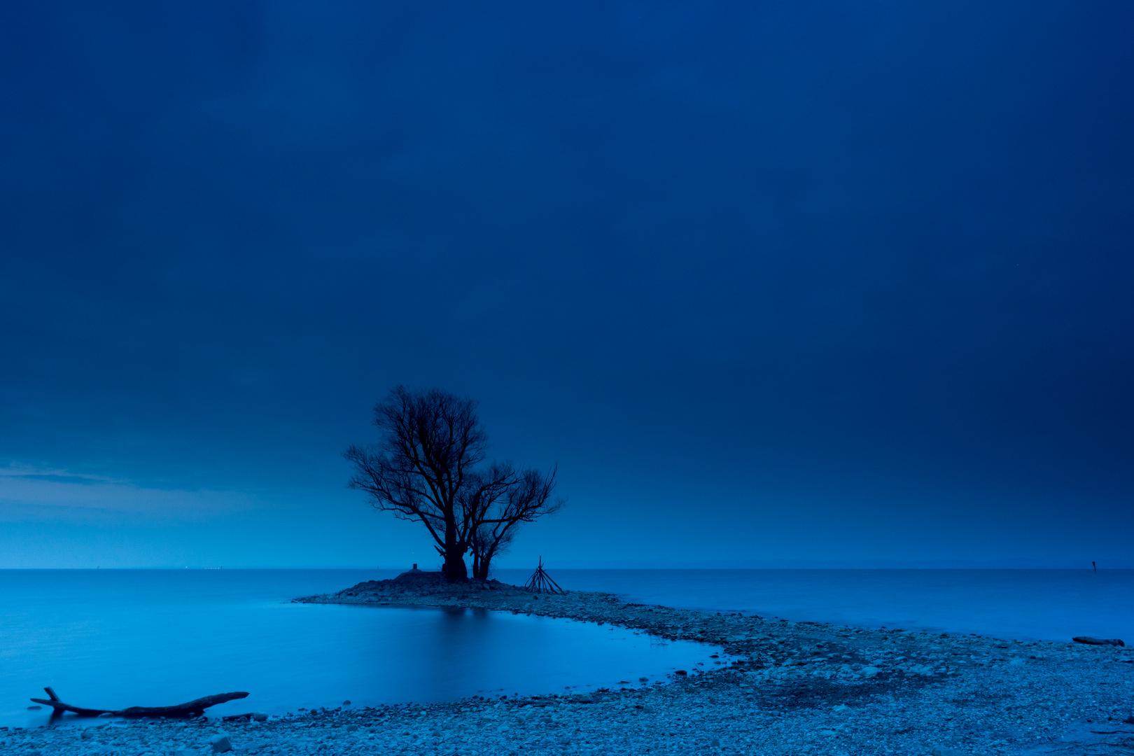 Blaue Stunde am Rheinspitz