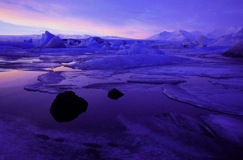 """""""Blaue Stunde"""" an der Gletscherlagune"""