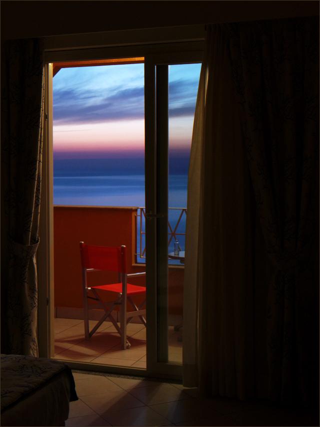 Blaue Stunde auf dem Balkon