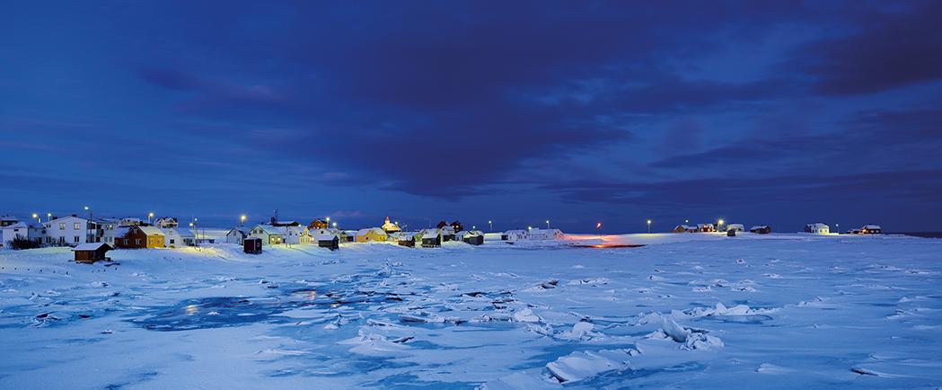 Blaue Stunde bei Vadsø, Nord-Norwegen im Februar 2013