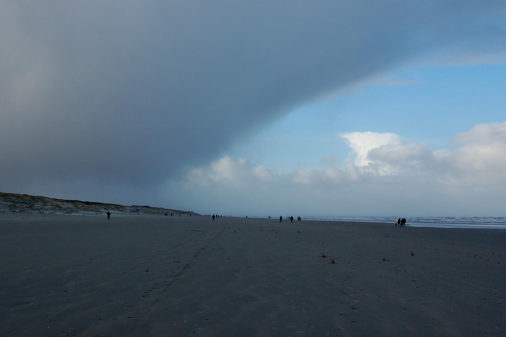 Blauer Himmel vs dunkle Wolken