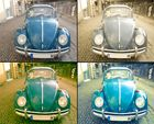 Blauer VW-Käfer, 4x