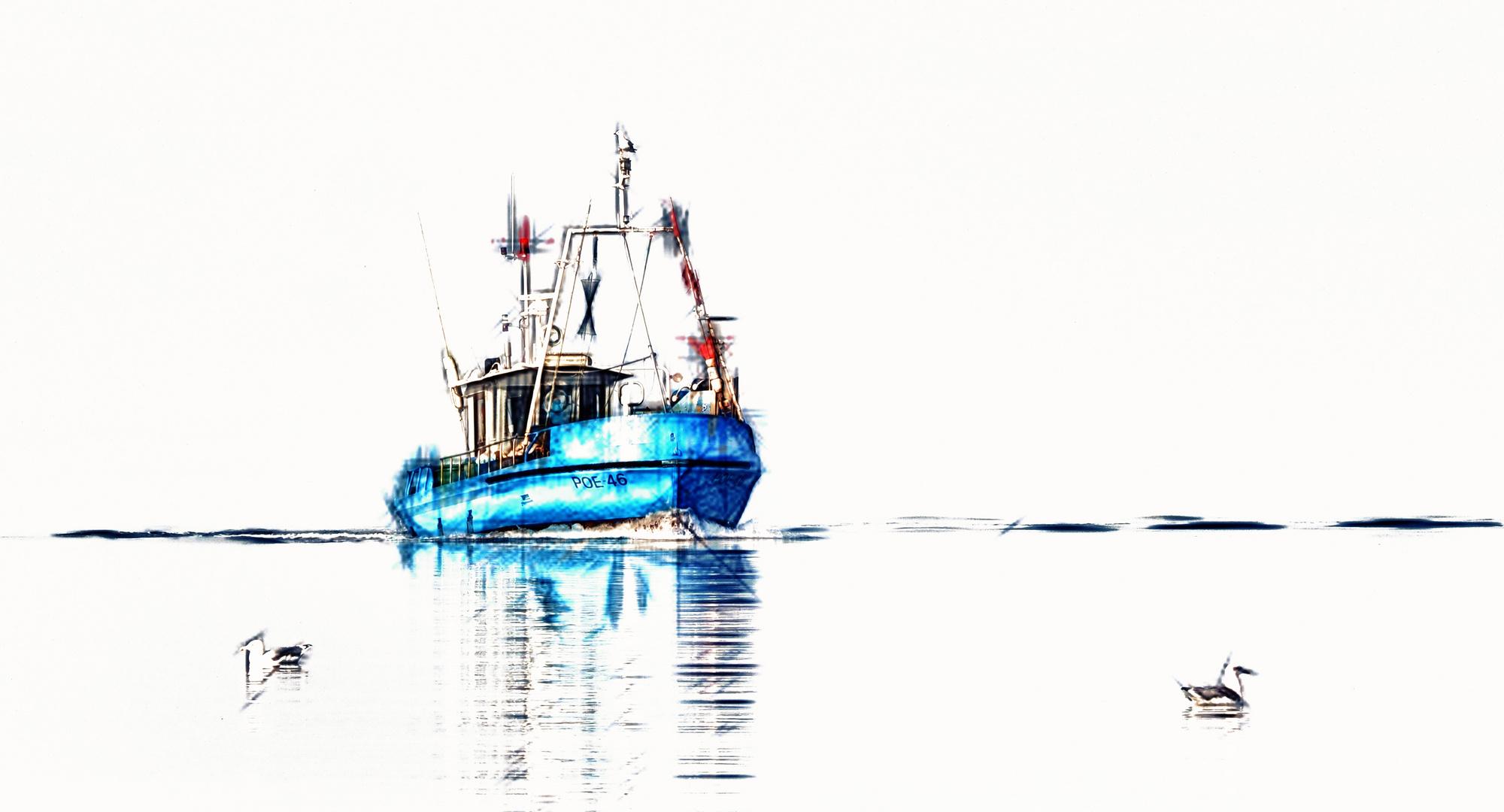 blaues fischerboot ...