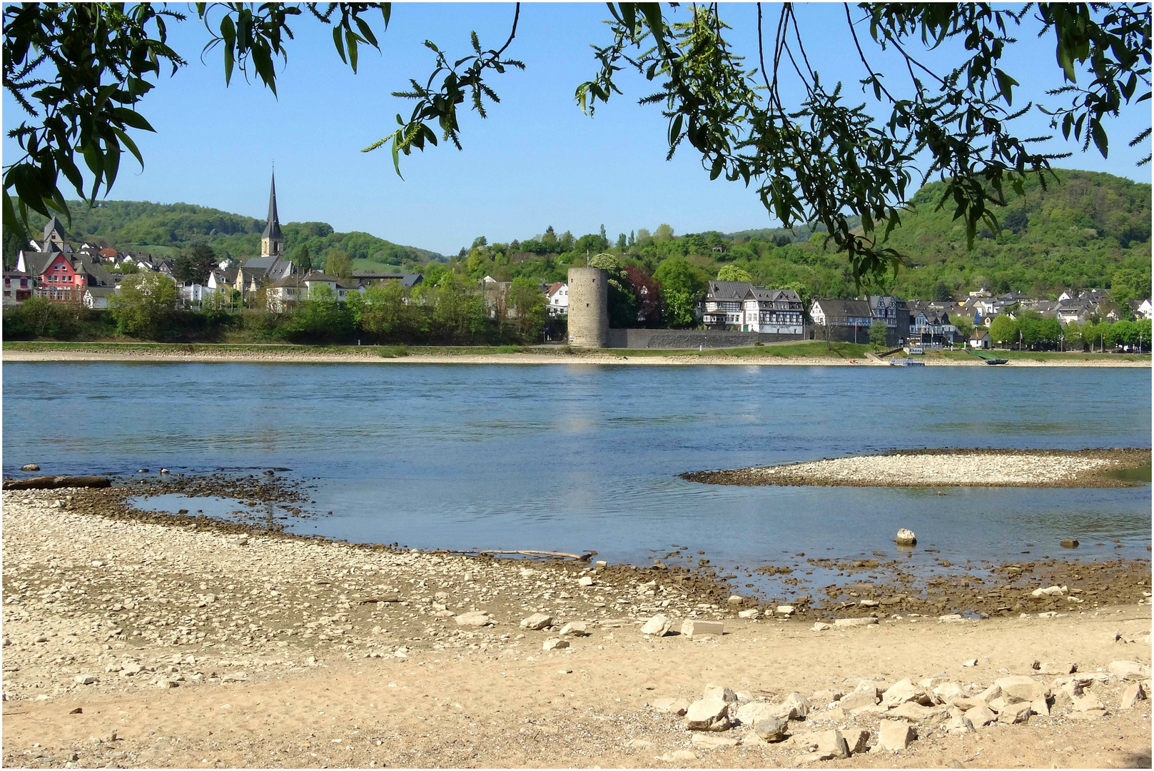 Blick auf das Gestade von Rhens am Rhein