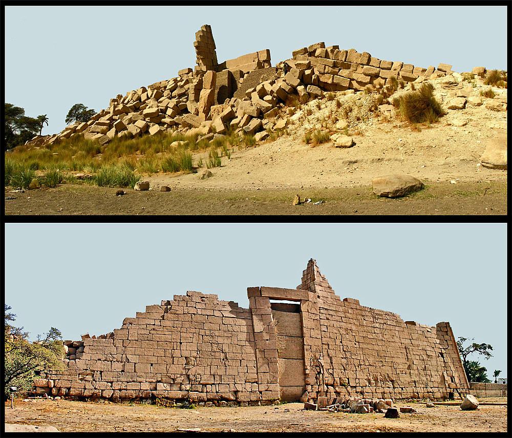 Blick auf den 1. Pylon vom Ramesseum von beiden Seiten…