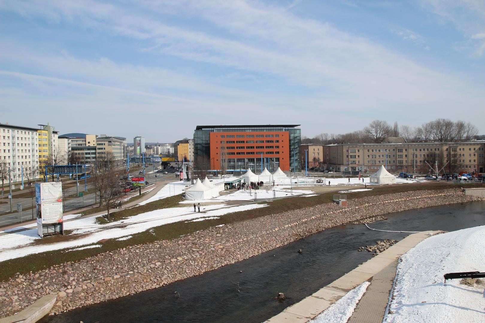 Blick auf den Fluss Chemnitz in Chemnitz