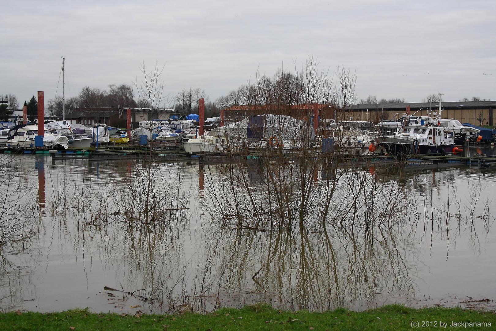 Blick auf den überfluteten Yachthafen in Wesel